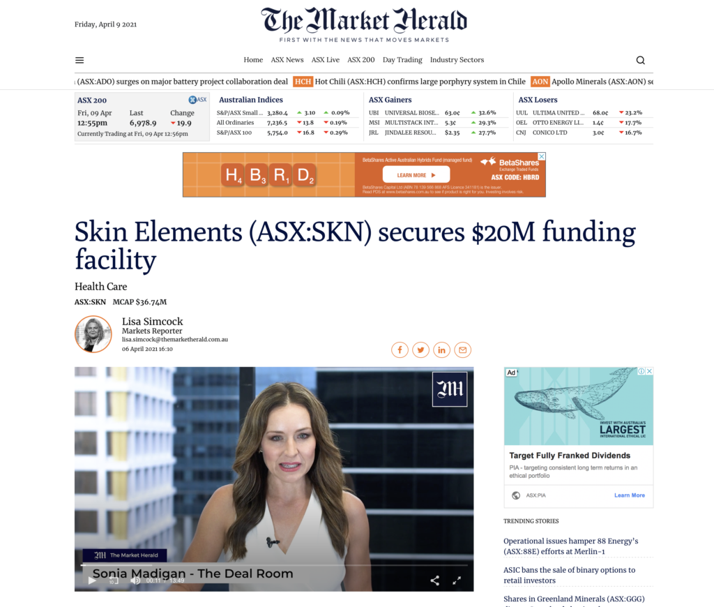 Skin Elements secures $20M funding